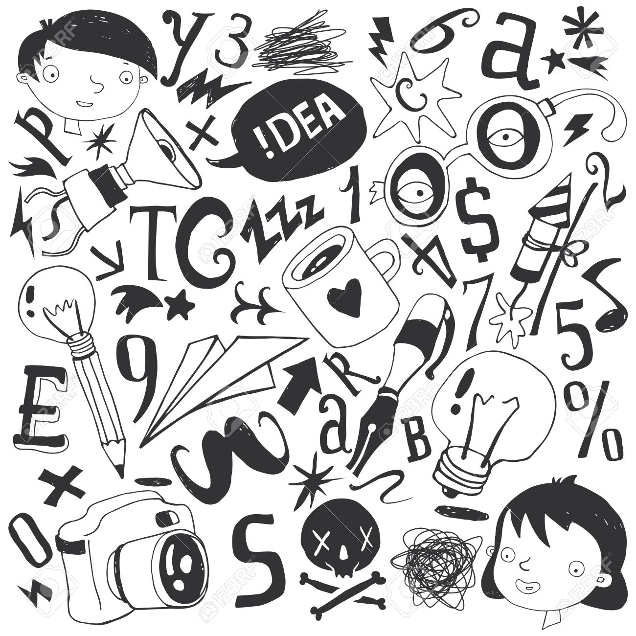 1300x1300 Character Set, School, Hobby, Sketch, Illustration, Pencil Drawing
