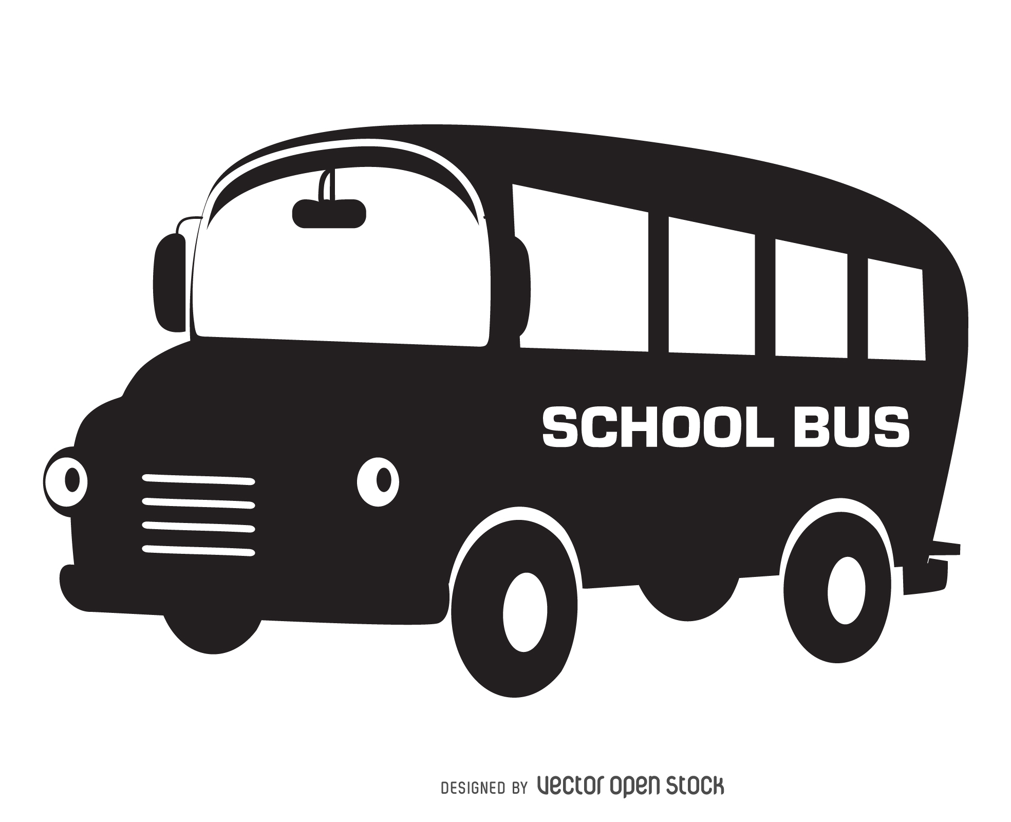 1968x1600 Illustrated school bus silhouette. Versatile isolated designs in