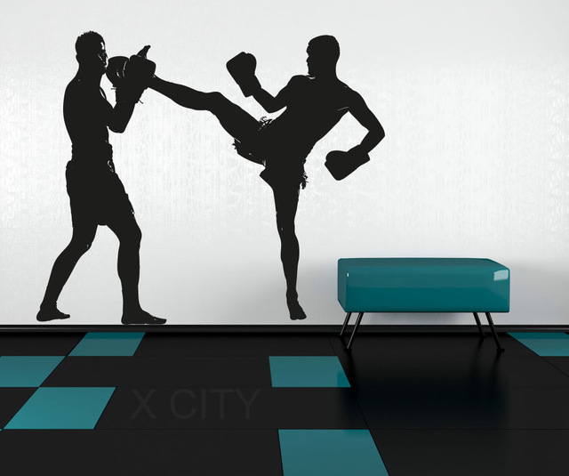640x535 MMA Fight Boxing Graphic Men Silhouette Wall Vinyl Sticker Decal