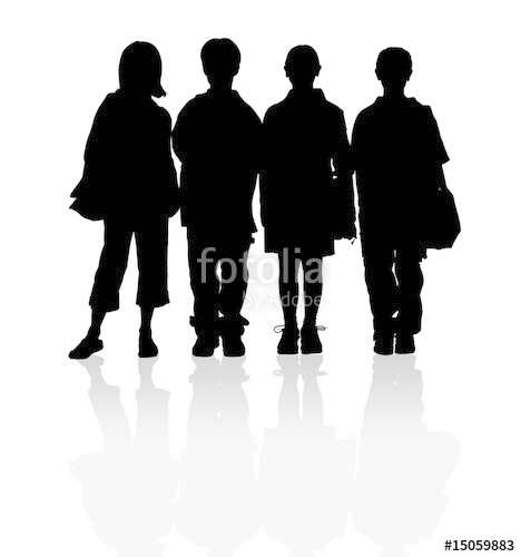 468x500 School children silhouettes Stock photo and royalty free images