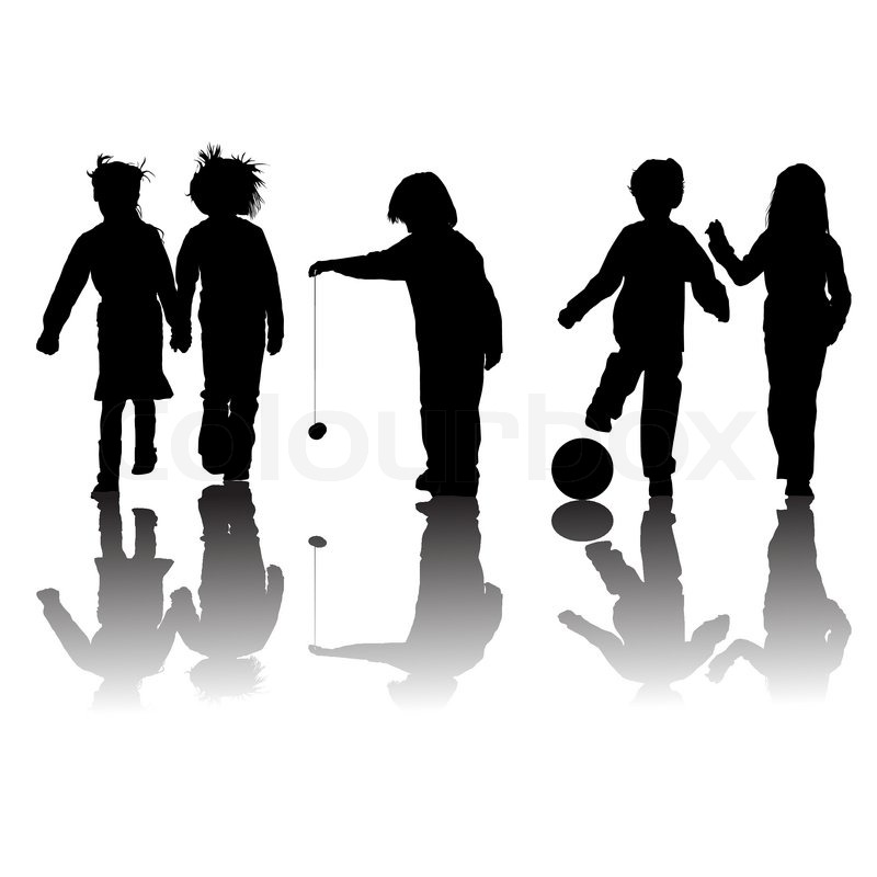 800x800 School kids friends silhouettes, girls and boys over white Stock