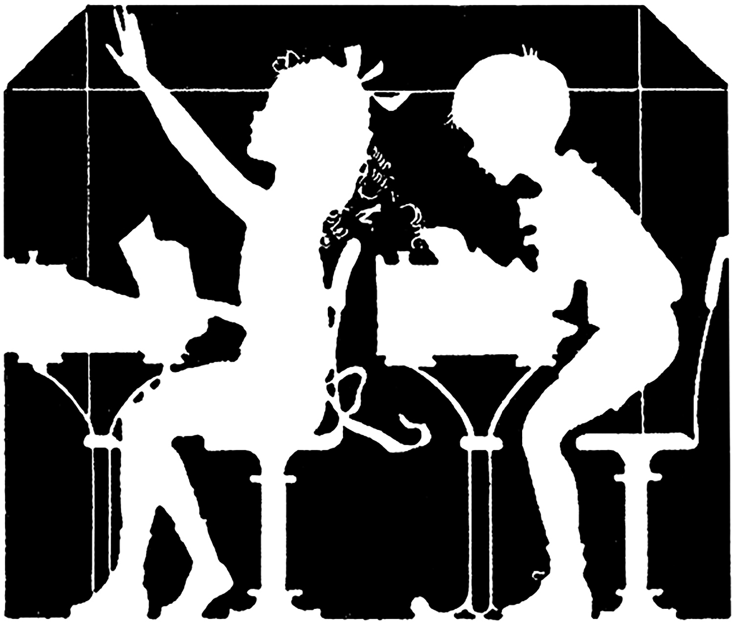 1500x1276 Vintage School Children Silhouette