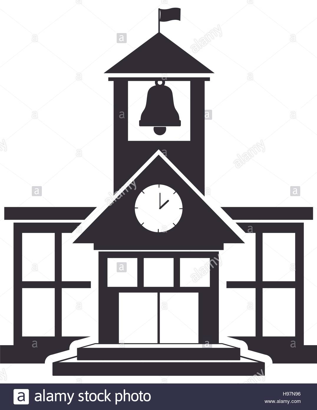 1076x1390 Black silhouette high school structure with large windows Stock