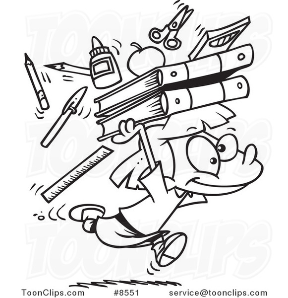 581x600 Cartoon Black And White Line Drawing Of A School Girl Running