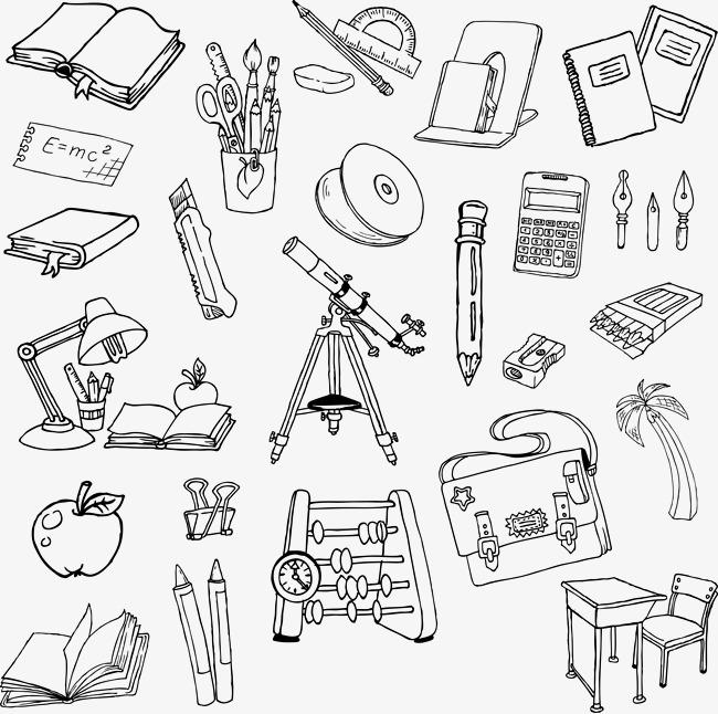 650x646 Cartoon Artwork Painted School Supplies, Cartoon School Supplies