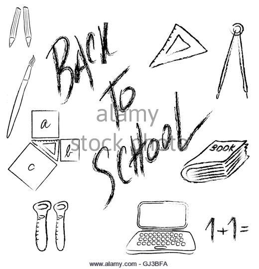 520x540 Doodle School Supplies Book Paper Stock Photos Amp Doodle School