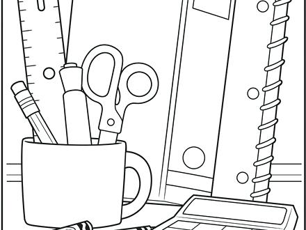 440x330 Entertaining School Supplies Coloring Pages Online Free Of Back