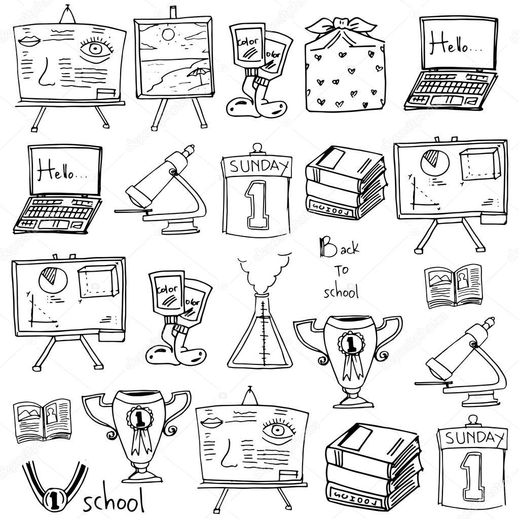 1024x1024 Hand Draw School Supplies Doodles Stock Vector Wongsalam77