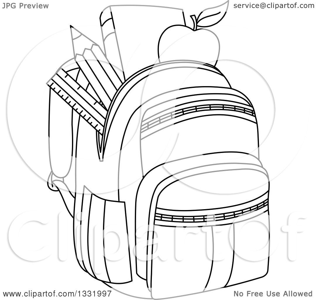 1080x1024 Lineart Clipart Of A Black And White Backpack Stuffed With School