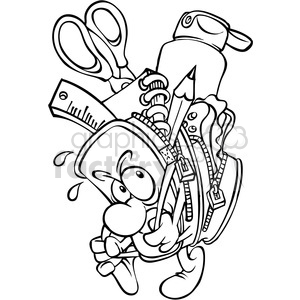300x300 Royalty Free Black And White Cartoon Backpack Full Of School