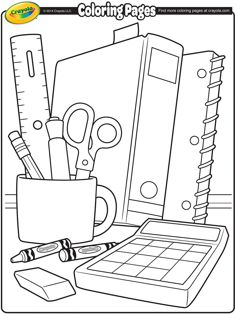 810x1080 School Supplies Coloring Page