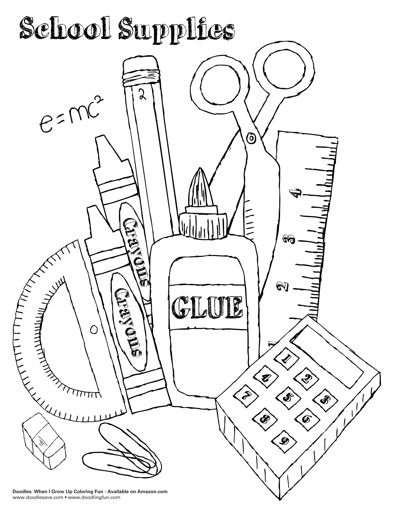 free art supply coloring pages | School Supplies Drawing at GetDrawings.com | Free for ...