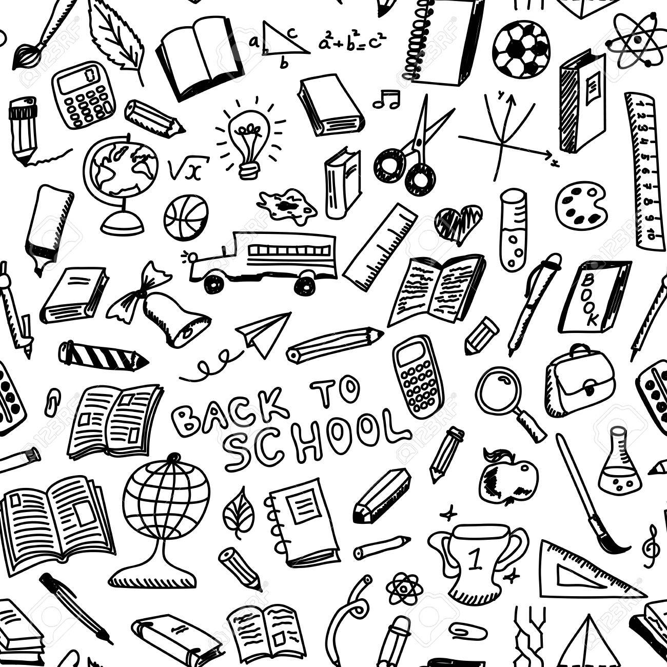 1300x1300 School Supplies Sketch Seamless Pattern In Doodle Style