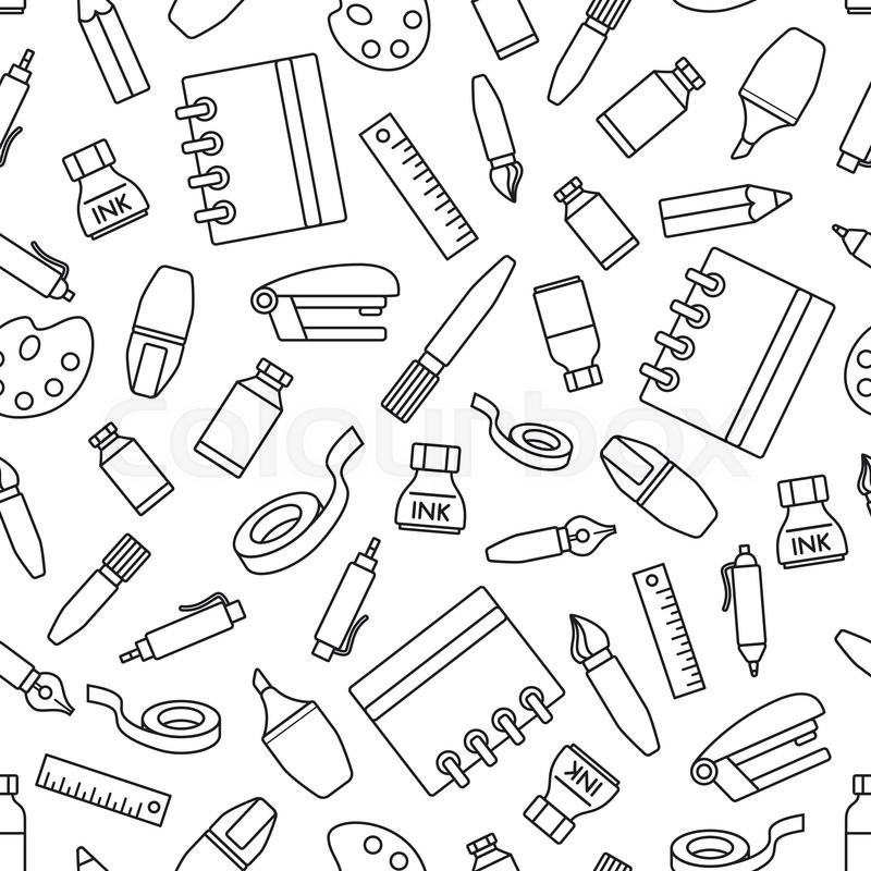 800x800 Seamless Pattern With Stationery Design Element. Various School
