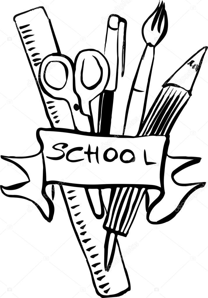 714x1023 Set Of Hand Drawn School Supplies Stock Vector Artnature