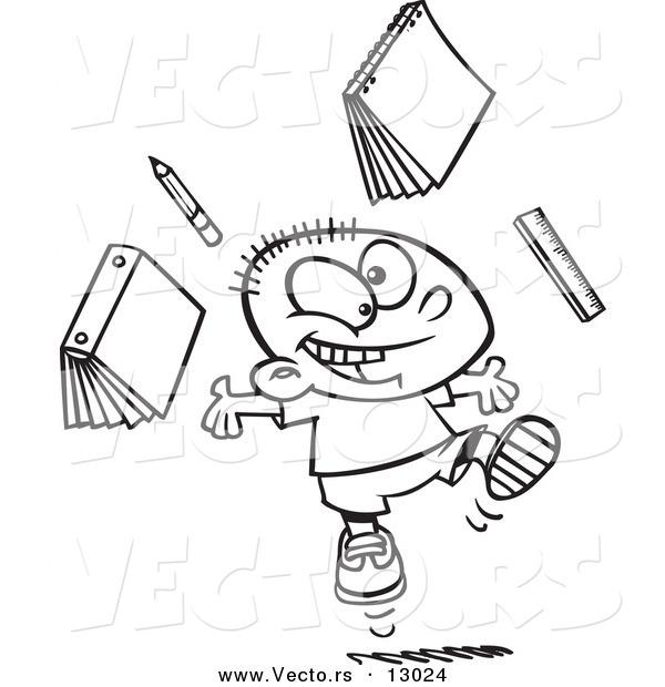600x620 Vector Of A Happy Cartoon School Boy Tossing School Supplies Into