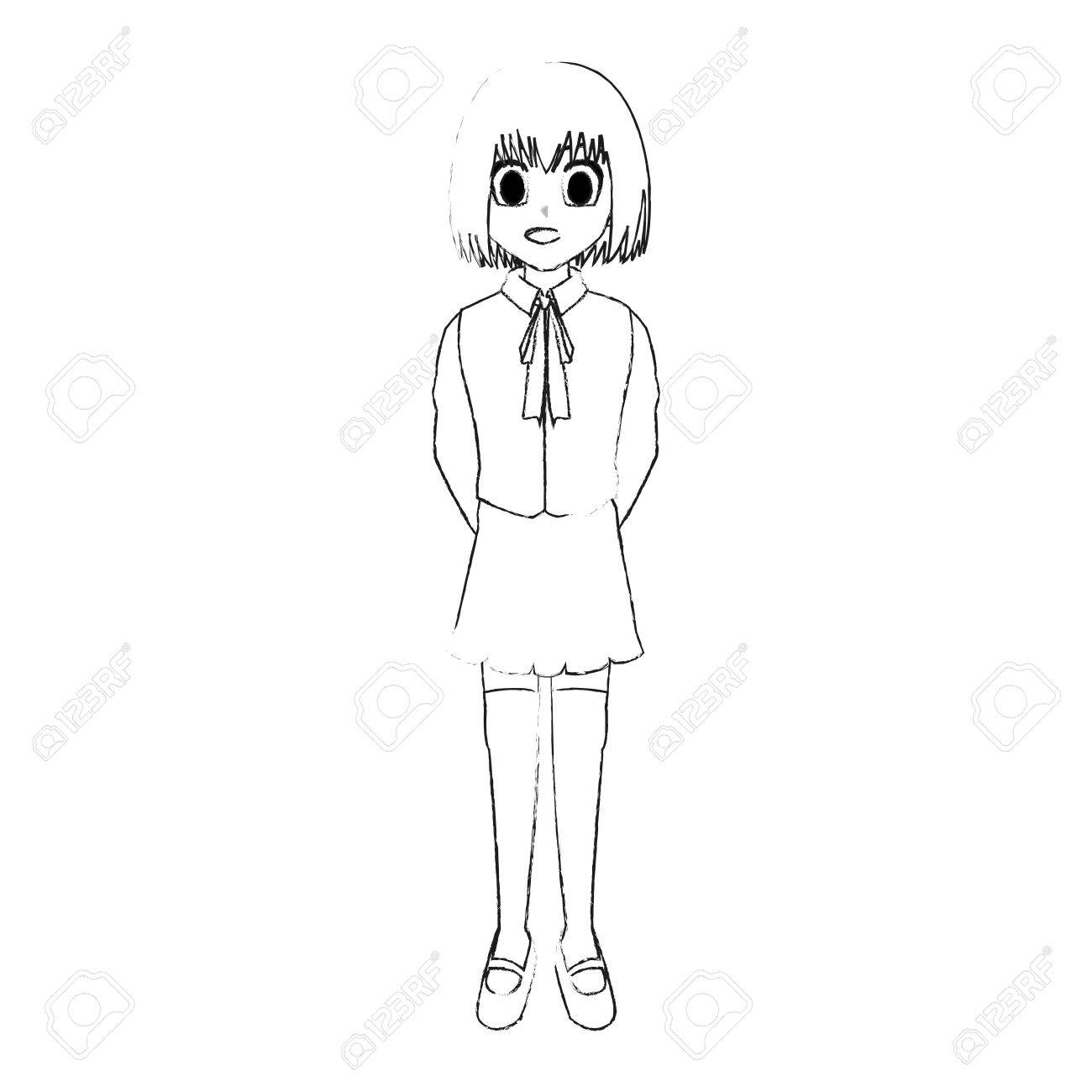 1300x1300 Cute Young Girl With Short Straight Hair Wearing School Uniform