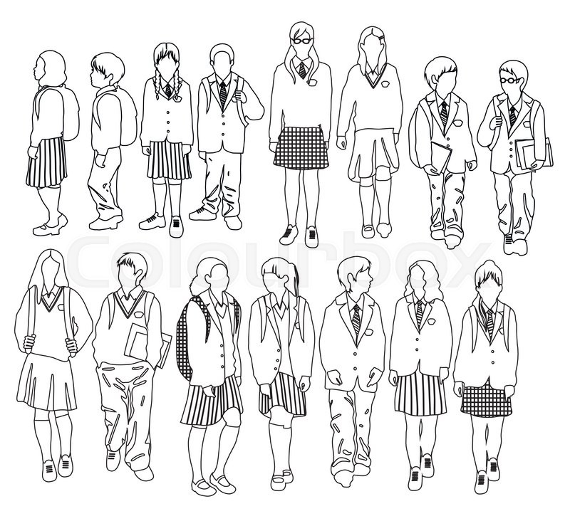 800x732 Group Of Vector Students. Boys And Girls Going To School Stock