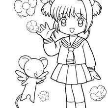 220x220 Sakura In Her School Uniform And Kereberus Coloring Pages