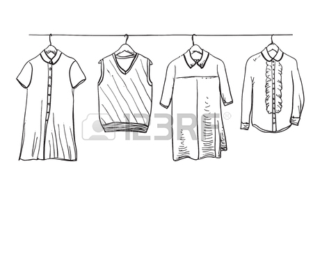 450x364 School Uniform. Hand Drawn Clothes On The Hanger Royalty Free