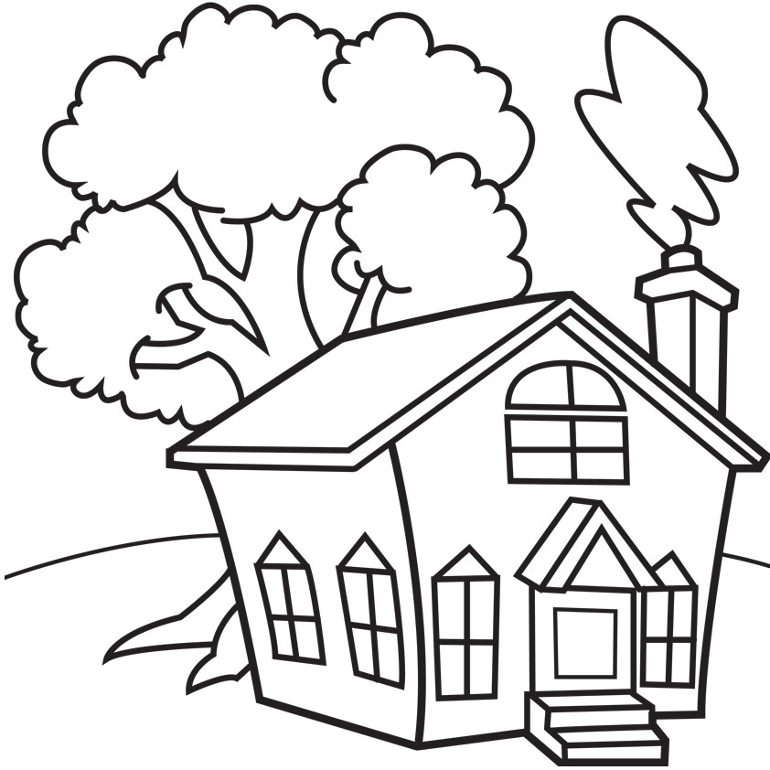 842x842 Old School House Coloring Pages
