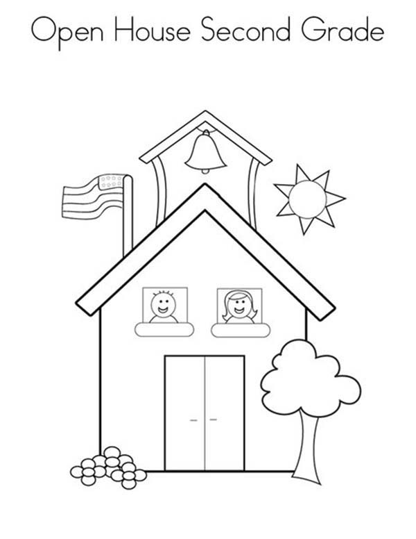 600x776 Open School House For Second Grade Coloring Page Coloring Sky