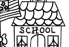 220x150 School House Coloring Page