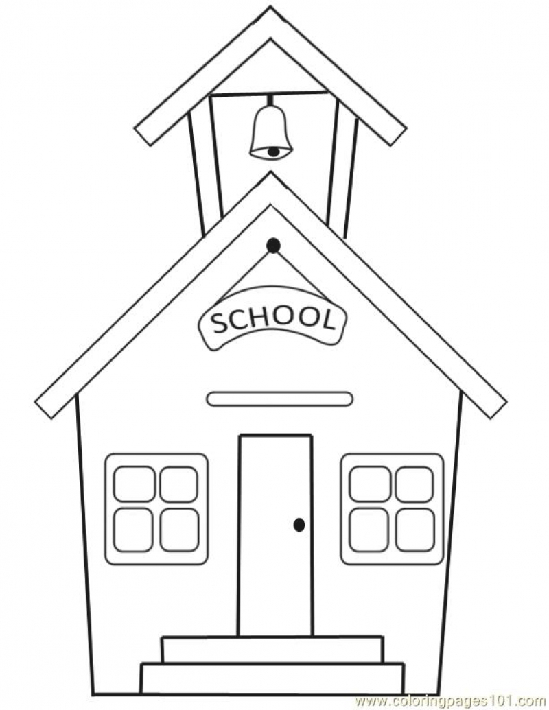 800x1035 School House Coloring Page