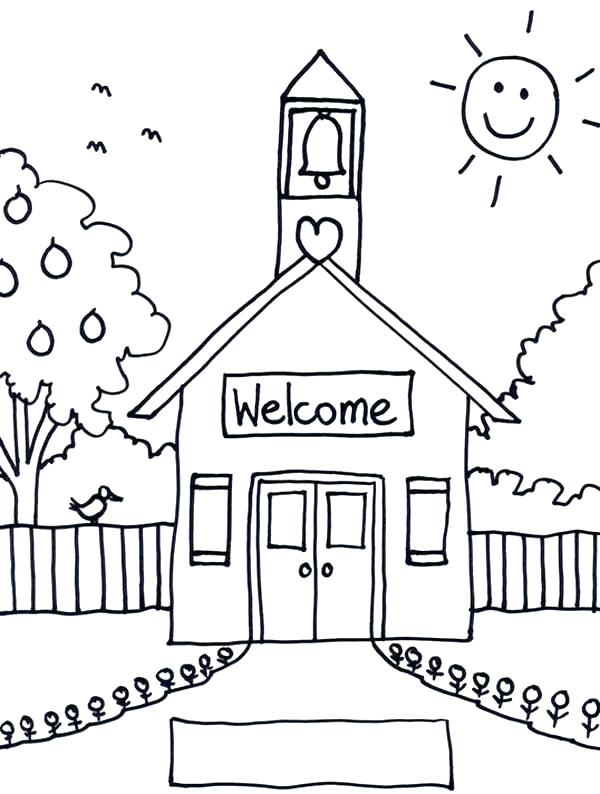 600x794 School House Coloring Page For Kids