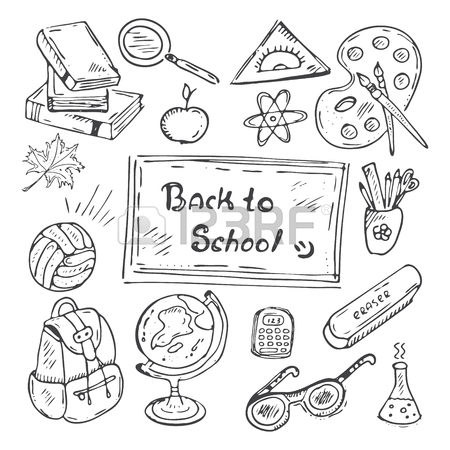 450x450 School Class Pattern With School Supplies. Vector Hand Drawn