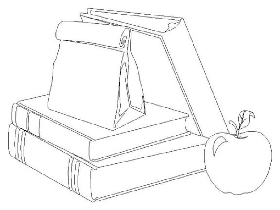 906x680 School Supplies Coloring Pages