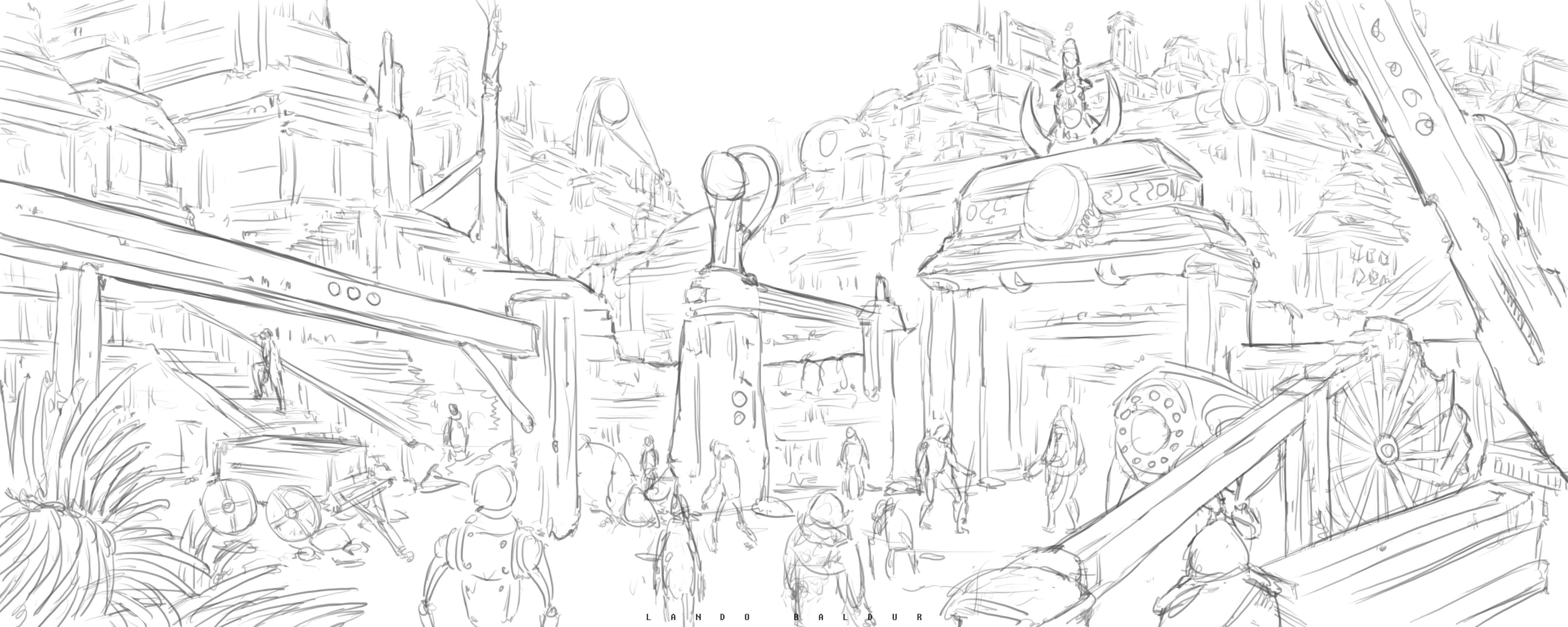 5000x2000 Scifi City Entrance Drawing Process 24 By Landobaldur