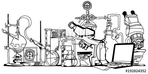 500x250 Chemistry Or Physics Abstract Fantasy Laboratory Black Line Art