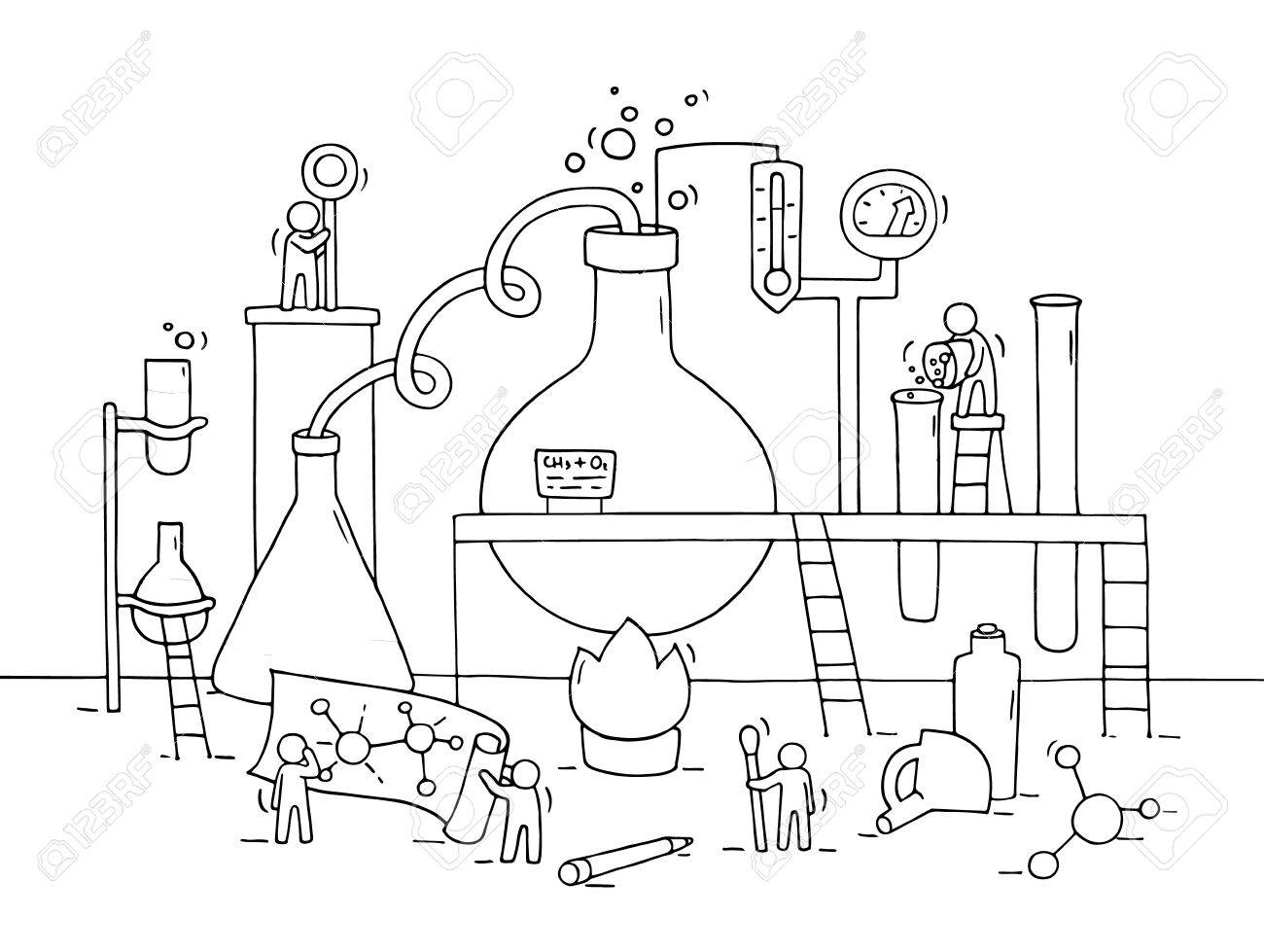 1300x979 Sketch Of Chemical Experiment With Working Little People, Beaker
