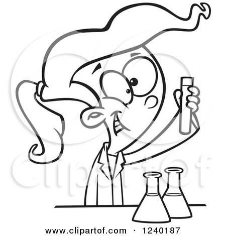 450x470 Clipart Of A Black And White Happy Girl Doing A Science Experiment
