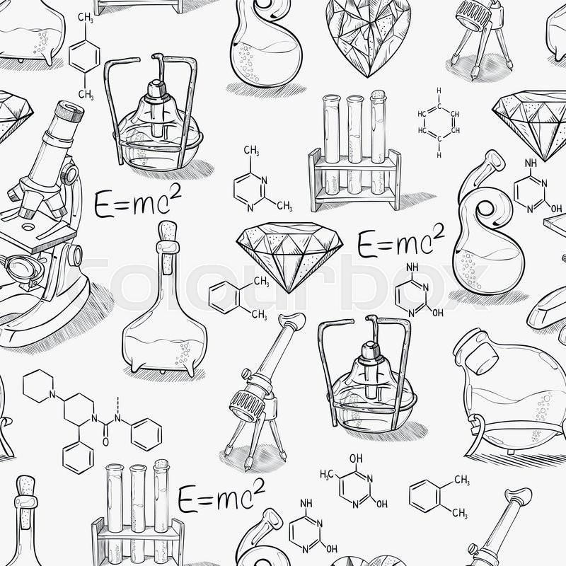 800x800 Hand Drawn Science Vintage Chemistry Lab Sketch Seamless Pattern