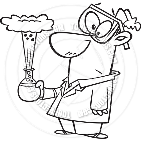 460x460 Cartoon Bad Science Experiment (Black Amp White Line Art) By Ron