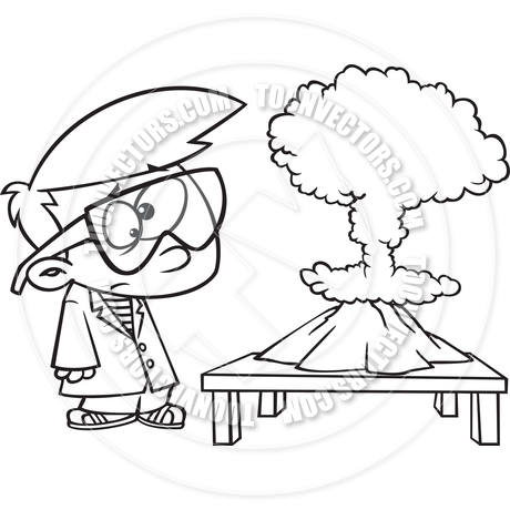 460x460 Cartoon Boy Science Experiment (Black And White Line Art) By Ron