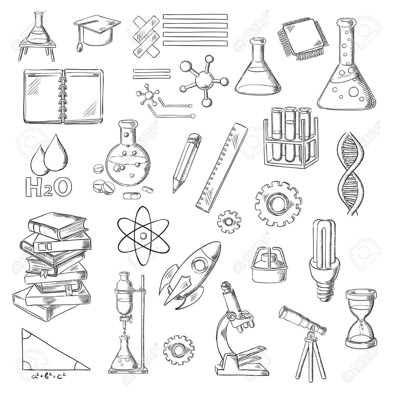 1300x1300 Science, Education And Laboratory Experiments Sketches With Books