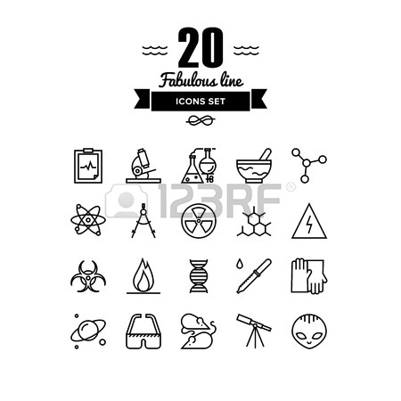 450x450 Thin Lines Icons Set Of Scientific Experiments, Bio Technology