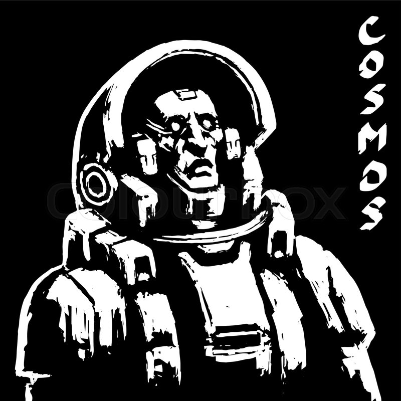 800x800 Face Astronaut In Helmet Science Fiction Character On Black