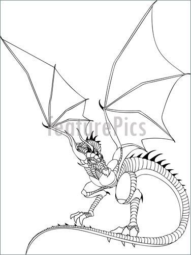 376x500 Science Fiction And Fantasy Dragon Line Drawing