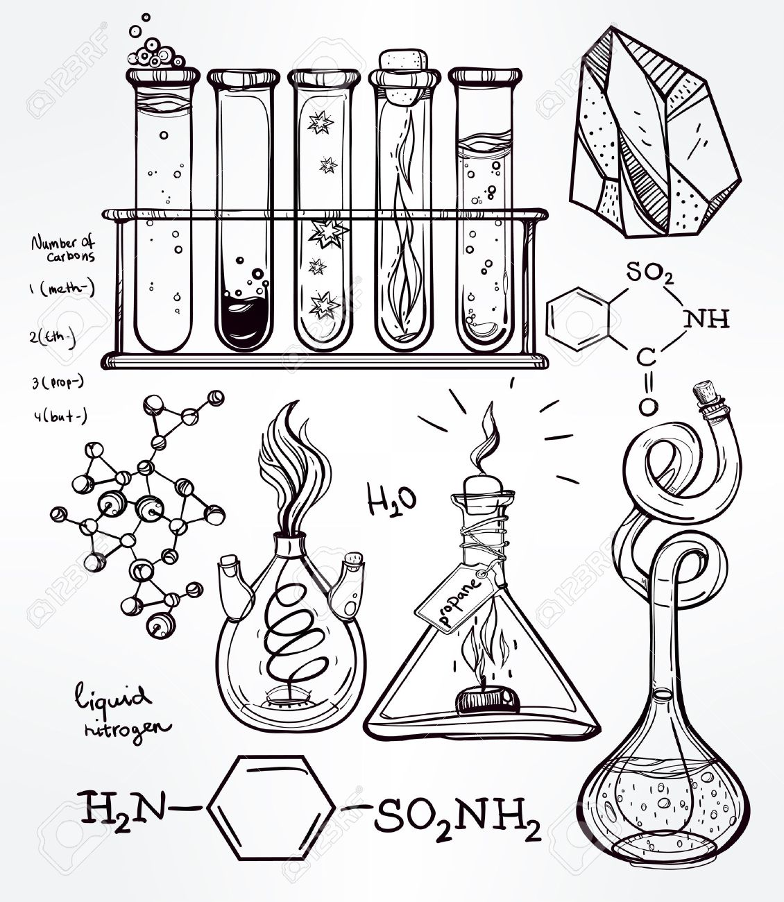 1130x1300 Hand Drawn Science Beautiful Vintage Lab Icons Sketch Set Vector