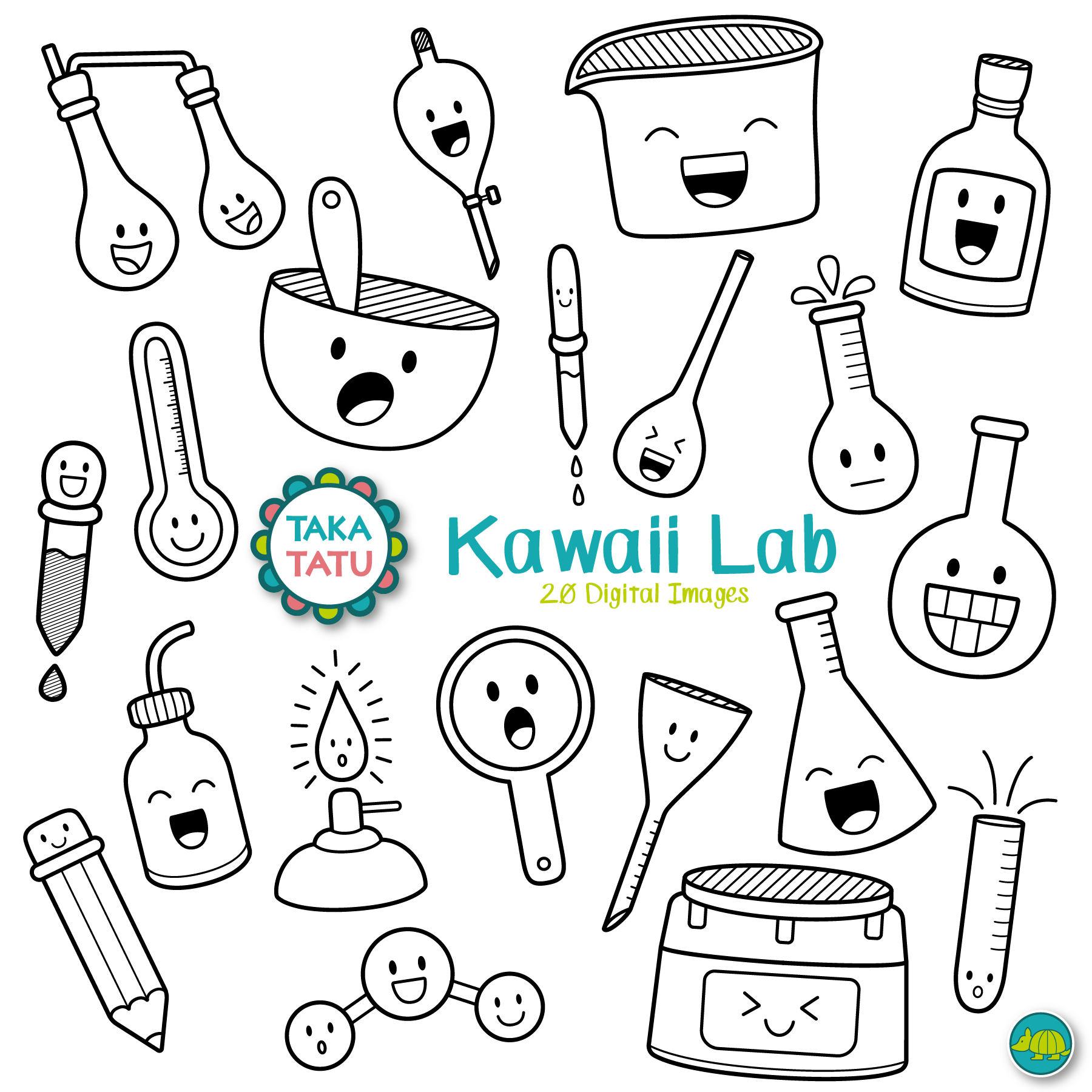 1800x1800 Kawaii Lab Digital Stamp Science Lab Clipart Science