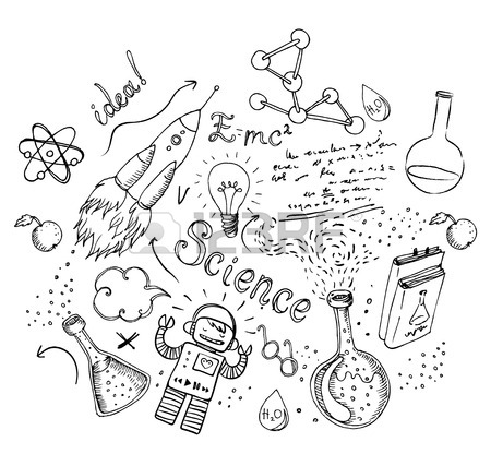 450x427 Back To School Science Lab Objects Doodle Vintage Style Sketches