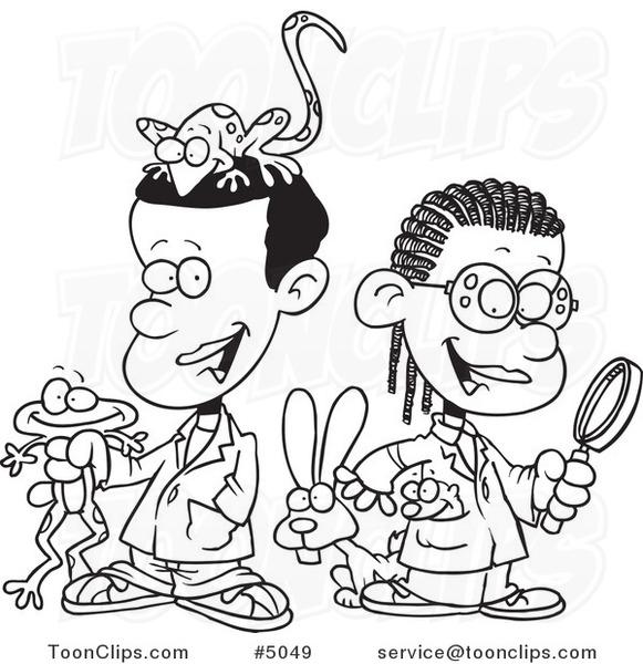 581x600 Cartoon Blacknd White Line Drawing Of Black School Kids In