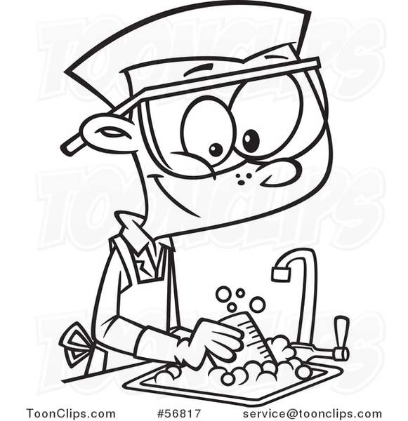 581x600 Cartoon Outline School Boy Cleaning Up In A Science Lab