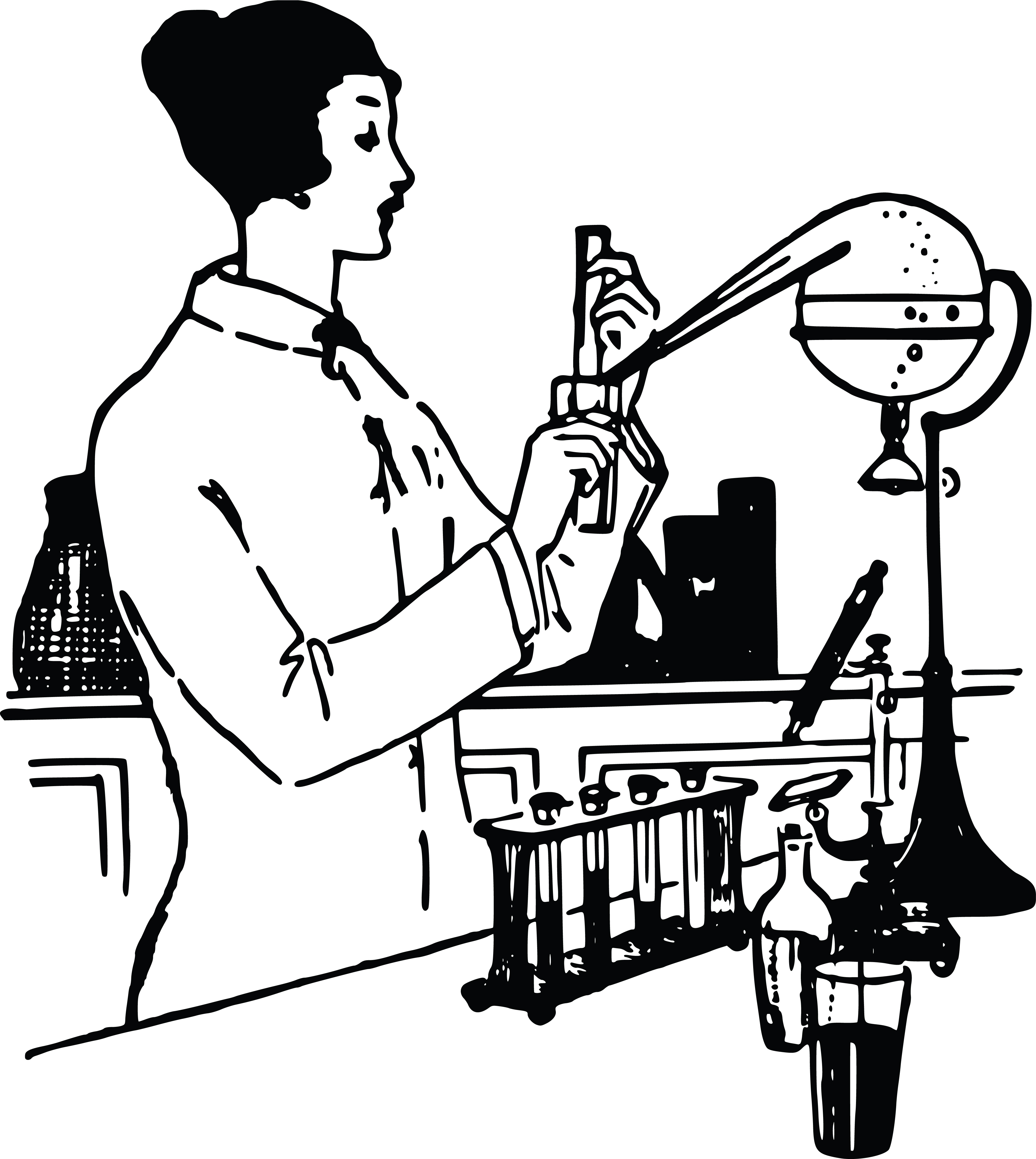 4000x4473 Clipart Of A Vintage Woman Working In A Science Lab Black And White