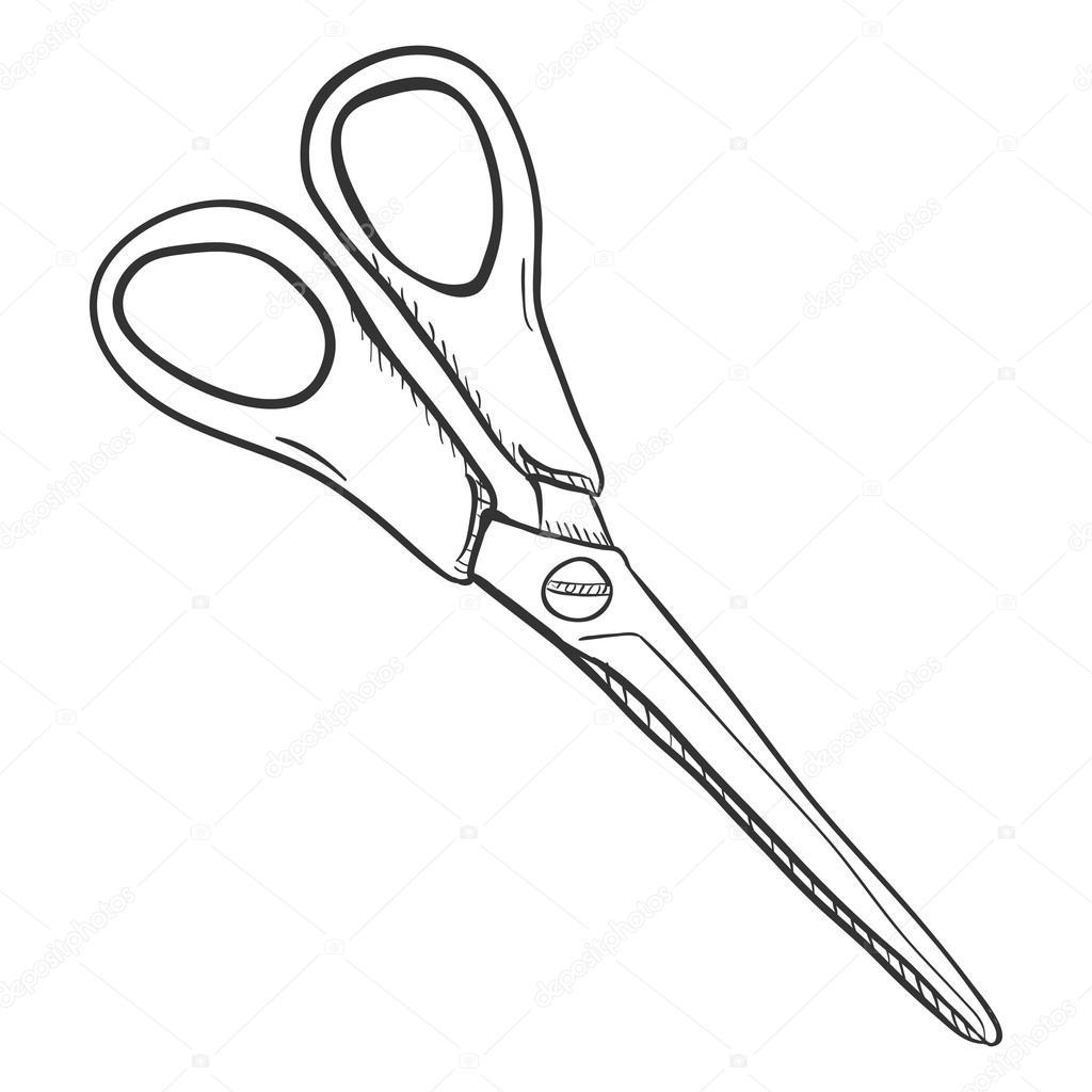 1024x1024 Single Sketch Scissors Stock Vector Nikiteev