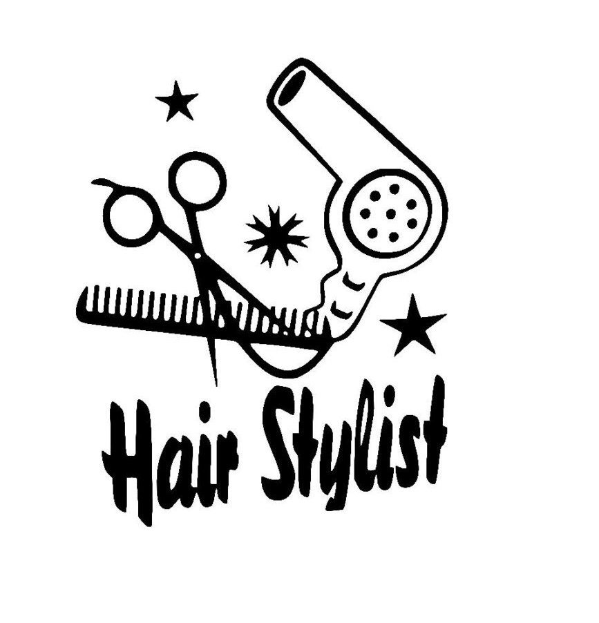 867x902 Hair Stylist With Scissors Comb And Dryer Sticker Vinyl